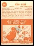 1963 Topps #56  Rosey Grier  Back Thumbnail