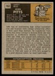 1971 Topps #163  John Pitts  Back Thumbnail