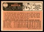 1966 Topps #125  Lou Brock  Back Thumbnail
