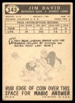1959 Topps #143  Jim David  Back Thumbnail