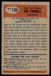 1955 Bowman #136  Emlen Tunnel  Back Thumbnail