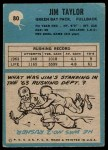 1964 Philadelphia #80  Jim Taylor   Back Thumbnail
