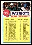 1973 Topps  Checklist   Patriots Front Thumbnail