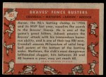 1958 Topps #351   -  Hank Aaron / Eddie Mathews / Joe Adcock / Del Crandall Braves Fence Busters Back Thumbnail