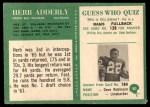1966 Philadelphia #80  Herb Adderley  Back Thumbnail