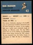 1962 Fleer #43  Bob Hudson  Back Thumbnail