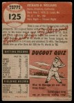 1953 Topps #125  Dick Williams  Back Thumbnail