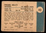 1961 Fleer #40  Frank Selvy  Back Thumbnail