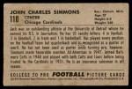 1952 Bowman Small #110  Jack Simmons  Back Thumbnail