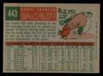 1959 Topps #443  Daryl Spencer  Back Thumbnail