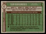 1976 Topps #87  Tom Burgmeier  Back Thumbnail