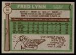 1976 Topps #50  Fred Lynn  Back Thumbnail