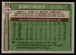 1976 Topps #179  George Foster  Back Thumbnail