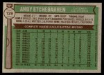 1976 Topps #129  Andy Etchebarren  Back Thumbnail