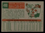 1959 Topps #490  Frank Thomas  Back Thumbnail