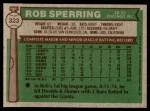1976 Topps #323  Rob Sperring  Back Thumbnail