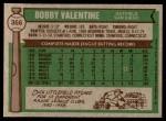 1976 Topps #366  Bobby Valentine  Back Thumbnail