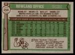 1976 Topps #256  Rowland Office  Back Thumbnail