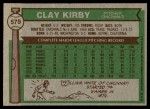 1976 Topps #579  Clay Kirby  Back Thumbnail