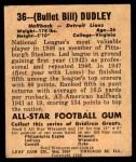 1948 Leaf #36  Bill Dudley  Back Thumbnail