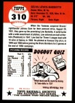 1953 Topps Archives #310  Lew Burdette  Back Thumbnail