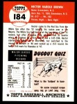 1953 Topps Archives #184  Hal Brown  Back Thumbnail
