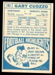 1968 Topps #185  Gary Cuozzo  Back Thumbnail