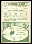 1968 Topps #86  Jackie Smith  Back Thumbnail