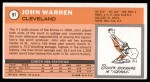 1970 Topps #91  John Warren   Back Thumbnail