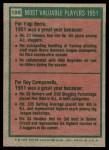 1975 Topps #189   -  Yogi Berra / Roy Campanella 1951 MVPs Back Thumbnail