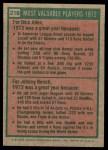 1975 Topps #210   -  Rich Allen / Johnny Bench 1972 MVPs Back Thumbnail