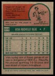 1975 Topps #510  Vida Blue  Back Thumbnail