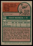 1975 Topps #407  Herb Washington  Back Thumbnail