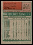 1975 Topps #586  Tim McCarver  Back Thumbnail
