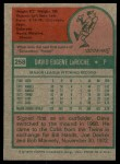 1975 Topps #258  Dave LaRoche  Back Thumbnail
