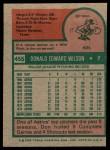 1975 Topps #455  Don Wilson  Back Thumbnail