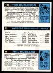 1980 Topps   -  Phil Hubbard / Robert Parish / Tom Burleson 86 / 93 / 126 Back Thumbnail
