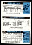 1980 Topps   -  Ben Poquette / Maurice Cheeks / Greg Kelser 241 / 176 / 87 Back Thumbnail