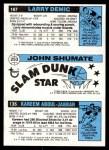 1980 Topps   -  Kareem Abdul-Jabbar / John Shumate / Larry Demic 135 / 253 / 167 Back Thumbnail