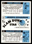 1980 Topps   -  Maurice Lucas / James Edwards / Eddie Jordan 158 / 261 / 157 Back Thumbnail