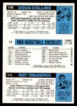 1980 Topps   -  Rudy Tomjanovich / Eddie Johnson / Doug Collins 111 / 13 / 179 Back Thumbnail