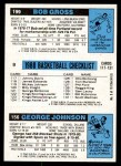 1980 Topps   -  George Johnson / Bill Cartwright / Bob Gross 156 / 9 / 199 Back Thumbnail