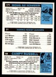 1980 Topps   -  Campy Russell / Armond Hill / Michael Ray Richardson 58 / 21 / 171 Back Thumbnail