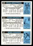 1980 Topps   -  Mike Cooper / John Shumate / Paul Westphal 137 / 212 / 229 Back Thumbnail
