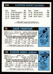 1980 Topps   -  Kareem Abdul-Jabbar / David Thompson / Brian Taylor 135 / 79 / 216 Back Thumbnail