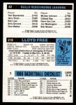 1980 Topps   -  Dan Roundfield / World B. Free / David Greenwood 3 / 218 / 42 Back Thumbnail