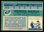 1976 O-Pee-Chee NHL #86  Dennis Maruk  Back Thumbnail