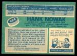 1976 O-Pee-Chee NHL #224  Hank Nowak  Back Thumbnail