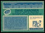 1976 O-Pee-Chee NHL #274  Dave Gardner  Back Thumbnail