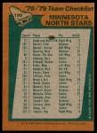 1978 Topps #199   North Stars Team Checklist Back Thumbnail